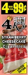 4K's Strawberry Cheesecake Cigarillos 15/4PK