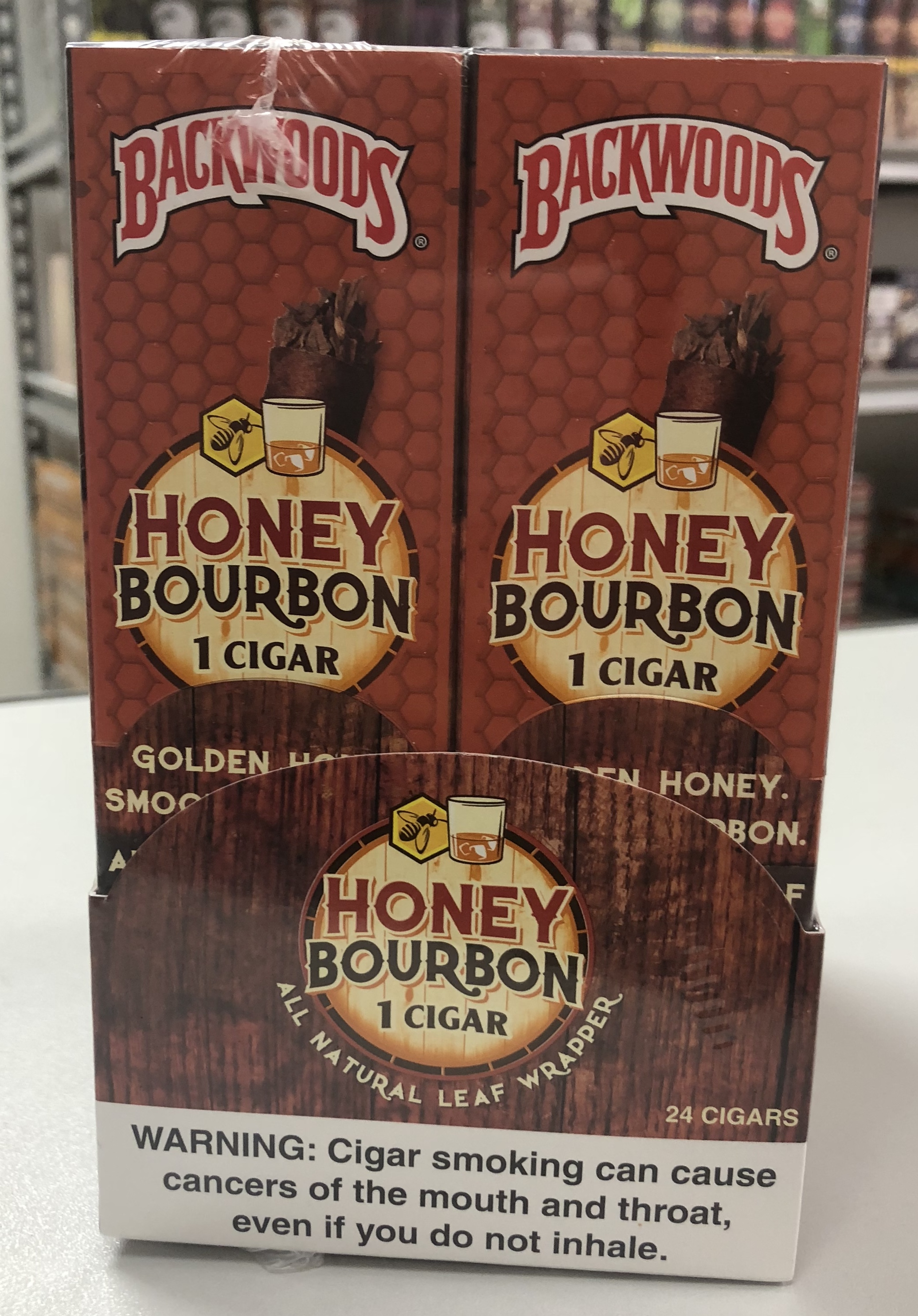 Backwoods Honey Bourbon Cigars 24/1PK  (LIMITED QUANTITIES AVAILABLE, PLEASE CALL AHEAD BEFORE ORDERING)