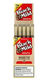 Black & Mild Wood Tip Sweets Cigars $0.79 Pre-Priced 25CT Box